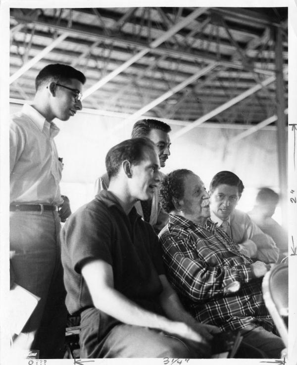 Undated: Conductor Pierre Monteux (in plaid) sits in Tanglewood's famed shed, talking with students.