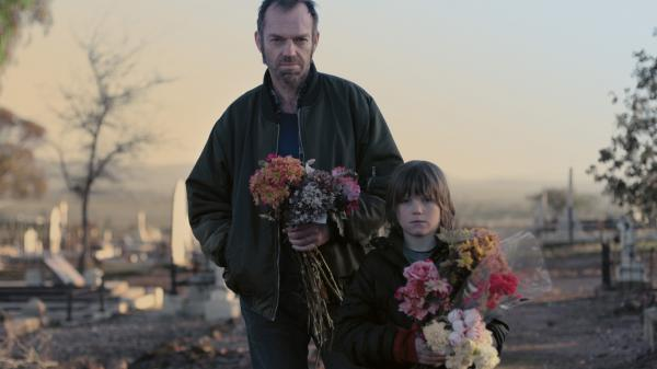 Hugo Weaving and Tom Russell as Kev and Chook in <em>Last Ride</em>. Chook's love of animals and lesser propensity for the outdoors clash with the life lessons Kev tries to teach him in the Australian wilderness.