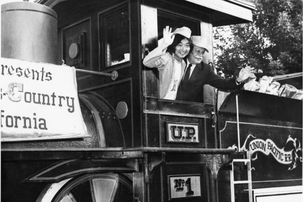 1975: BSO music director Seiji Ozawa and Boston Pops conducting legend Arthur Fiedler wave happily to fans.