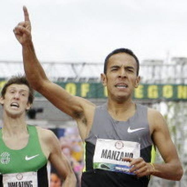 Leonel Manzano leads Matthew Centrowitz to the finish in the men's 1500 meter final at the U.S. Olympic Track and Field Trials Sunday, July 1, 2012, in Eugene, Ore. Manzano came in first and Centrowitz crossed second. Both made the Olympic team. (AP Photo/Eric Gay)