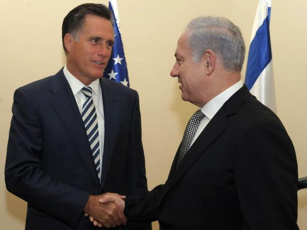 Mitt Romney meets with Israeli Prime Minister Benjamin Netanyahu in Jerusalem on January 13, 2011. Romney was not yet an official candidate at the time.