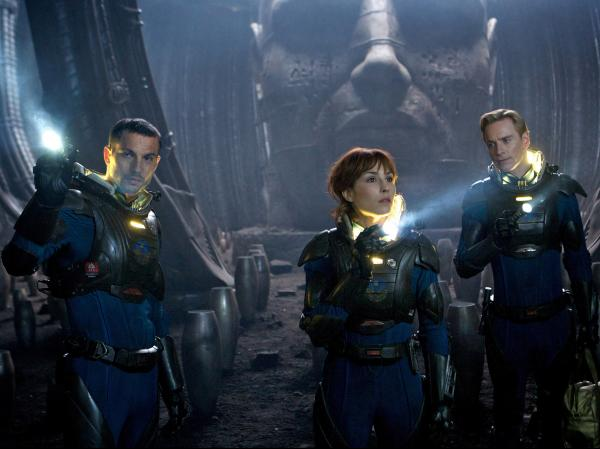 Logan Marshall-Green (left), Noomi Rapace and Michael Fassbender in <em>Prometheus</em>.