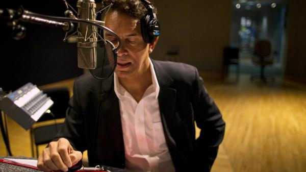 Brian Stokes Mitchell records <em>A Lincoln Portrait</em> at NPR's Studio 4A in April.