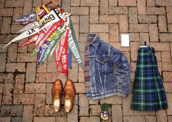 """James Oliver Lamont Fox, 40, Massachusetts, student: """"Growing collection of old-timey Vermont pennants; Ede & Ravenscroft brogues bought for our wedding; box of cufflinks; ... Levi's Troy-lined jacket; ... my kilt, Lamont, the only made-to-measure thing I own; external hard drive of photos."""""""