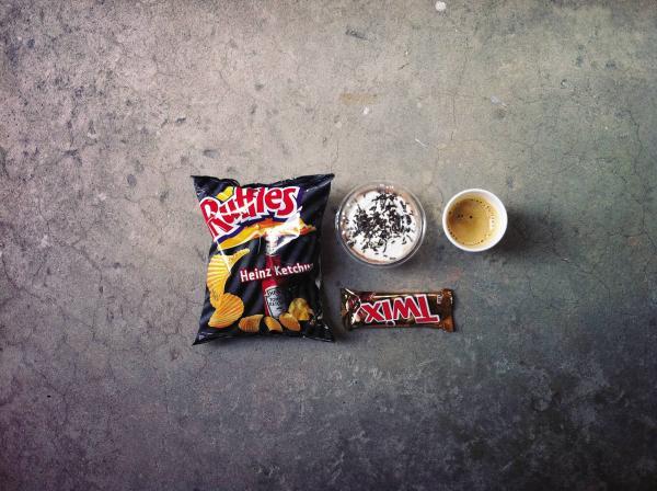 """George Yanakiev, 23, Bulgaria, online guy at an ad agency: """"Junk food, junk food, junk food, coffee."""""""