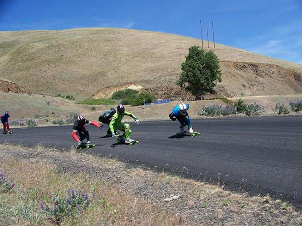 Racers jostle and draft for position in the first turns of Maryhill Loop Road in the Columbia River Gorge. Photo by Anna King