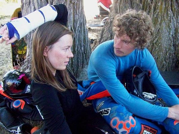 Tamara Prader and her top-level boyfriend Patrick Switzer under a tree near the start line at Maryhill Loop Road near Goldendale, Washington. Photo by Anna King