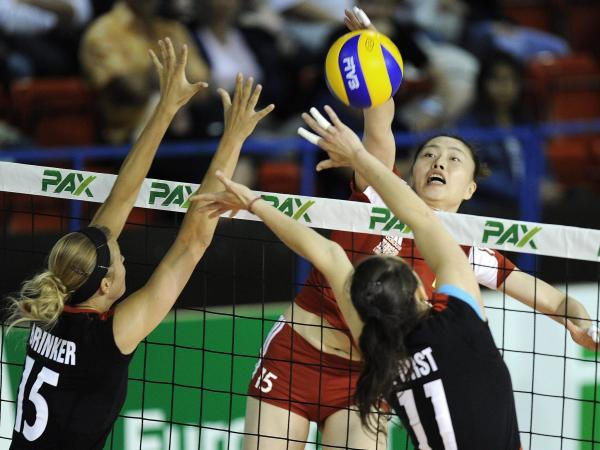 Chinese volleyball player Yunwen Ma during a game between China and Germany, at the Montreux Volley Masters women tournament, in Montreux, Switzerland, in 2011.
