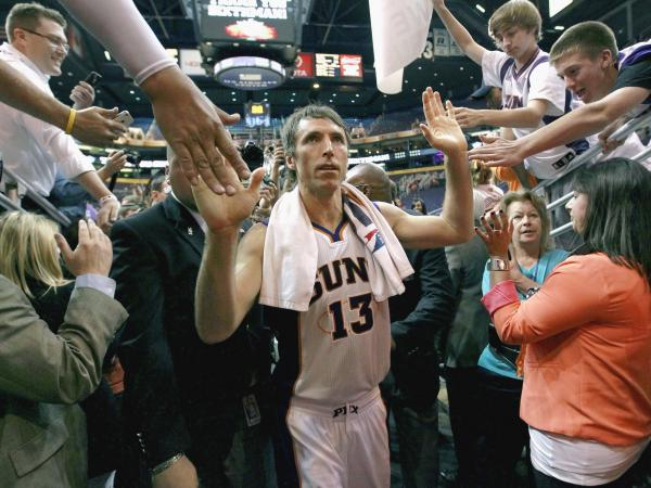 Steve Nash, 38, left the Phoenix Suns to sign a $27 million three-year deal with the Los Angeles Lakers