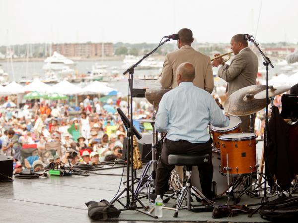 Wynton Marsalis' ensemble performs at the Newport Jazz Festival.