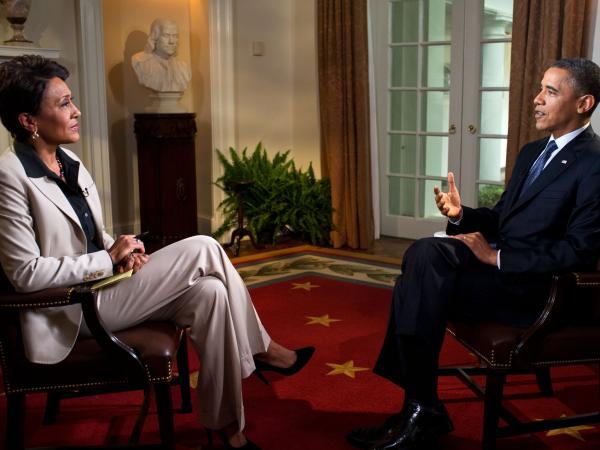 President Obama is interviewed from the Cabinet Room of the White House by Robin Roberts on ABC's <em>Good Morning America</em> on May 9. During the interview, Obama expressed his support for gay marriage — a first for a U.S. president.