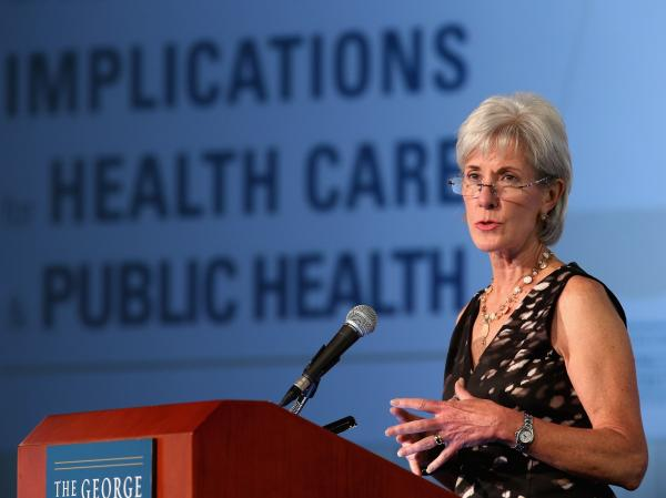 Health and Human Services Secretary Kathleen Sebelius speaks about the recent Supreme Court decision to uphold the Affordable Care Act at George Washington University on July 11 in Washington, D.C.