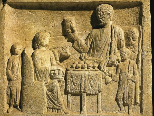 Roman civilization, 1st century A.D. Relief portraying a feast.
