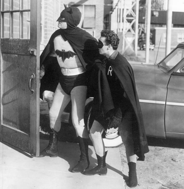 Robert Lowery as Batman and John Duncan as Robin in 1949's <em>Batman and Robin</em>.
