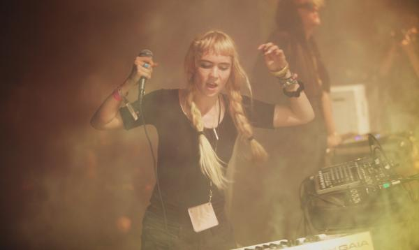 Claire Boucher, a.k.a. Grimes, on stage on Saturday during the Pitchfork Music Festival in Chicago.