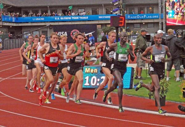 Lopez Lomong (second from right) racing at the 2012 U.S. Olympic Team Trials in Eugene. Photo by Tom Banse