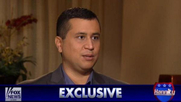 George Zimmerman during his interview with Fox News' Sean Hannity.