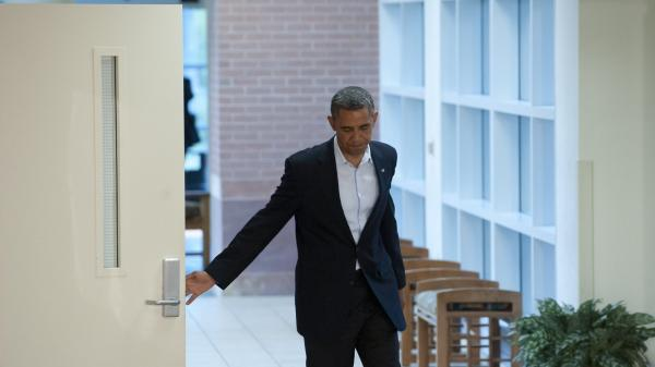 President Obama at the University of Colorado Hospital in Aurora, Colo., on Sunday, when he met with  victims and family members of last week's shooting.