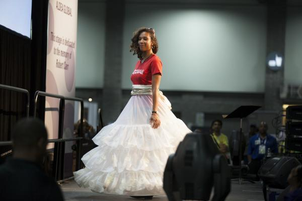 The show was coordinated by a Dutch group, whose goal is to make female condoms available, accessible and affordable around the globe. Rishona Hines from Woodbury, Conn., wears a dress made in the Netherlands.
