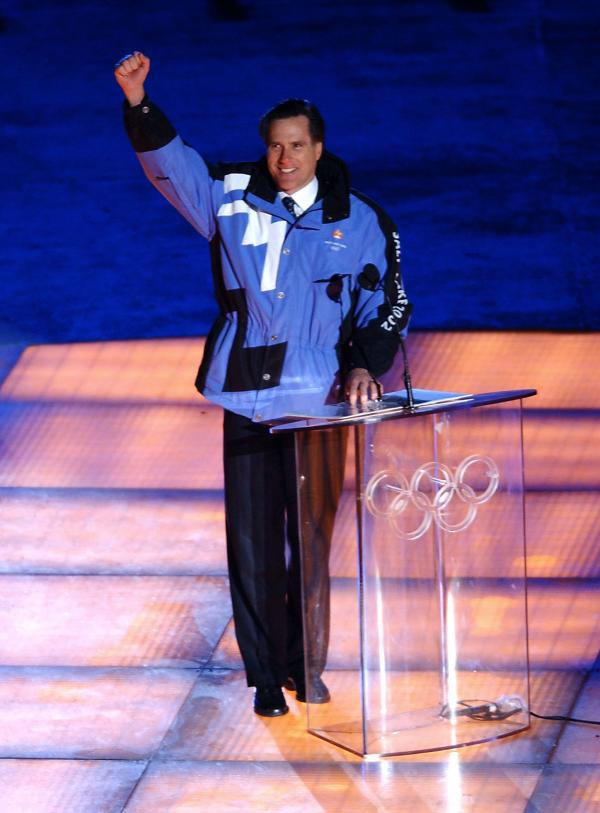 Romney appears during the opening ceremony of the 2002 Winter Olympics in Salt Lake City.