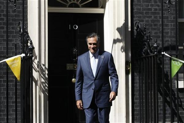 Mitt Romney leaves London's 10 Downing Street after meeting with British Prime Minister David Cameron.