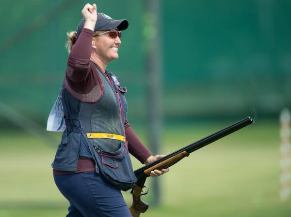 American shooter Kimberly Rhode celebrates after winning gold in the women's skeet shooting final.