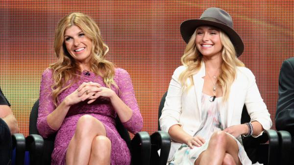 "Connie Britton and Hayden Panettiere speak onstage at the ""Nashville"" panel."