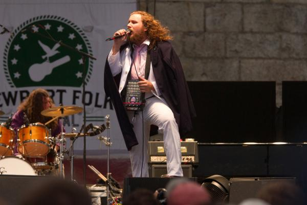 Jim James looked fabulous at Newport — yes, that is both a cape and a Roland SP-404SX Portable sampler draped around his neck. The dude was everywhere, too, from an umbrella-toting guest spot with Conor Oberst to a concert with his New Multitudes project.