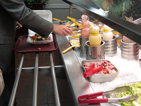 <p>To encourage healthy choices, Dow's corporate cafeteria features color-coded utensils. Healthy foods like broccoli, spinach and beets have green handles. Yellow handles mean caution, and red is for temptations like bacon bits and high-fat dressing.</p>