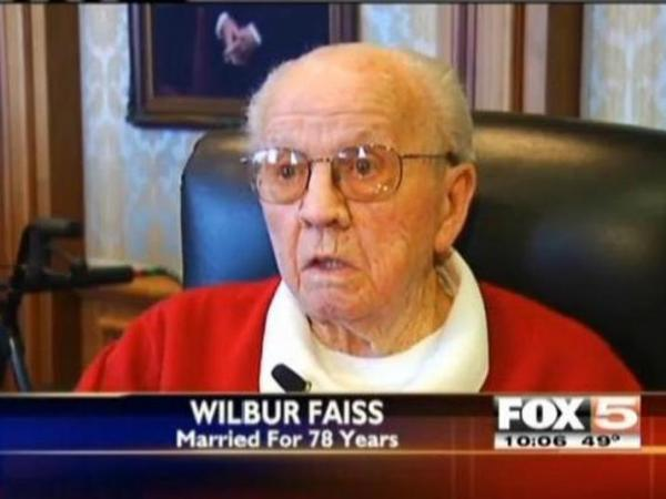 Wilbur Faiss, who's been married more than 78 years.