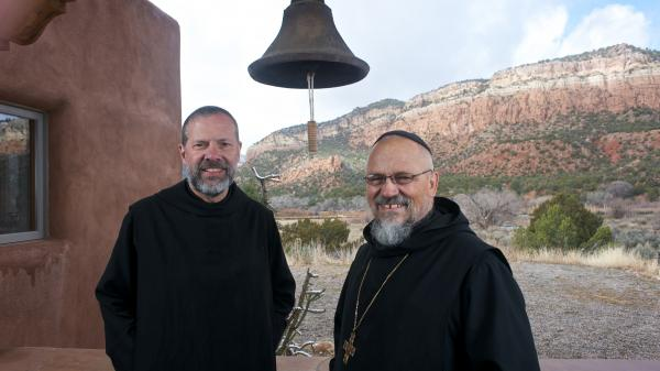 Brother Christian Leisy (left) and Abbot Philip Lawrence at the Monastery of Christ in the Desert in Abiquiu, N.M.