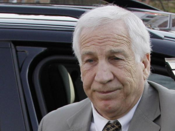 Former Penn State University assistant football coach Jerry Sandusky as he arrived at the Centre County Courthouse in Bellefonte, Pa., this morning.