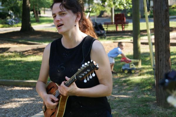 CABOMA member Tara Linhart plays her mandolin.