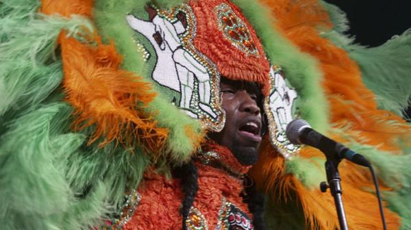 A Mardi Gras Indian performs at the 2008 Voodoo Music Experience festival, held in New Orleans City Park.