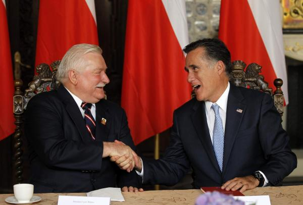 Mitt Romney, right, meets Monday with former Polish President Lech Walesa in Gdansk.