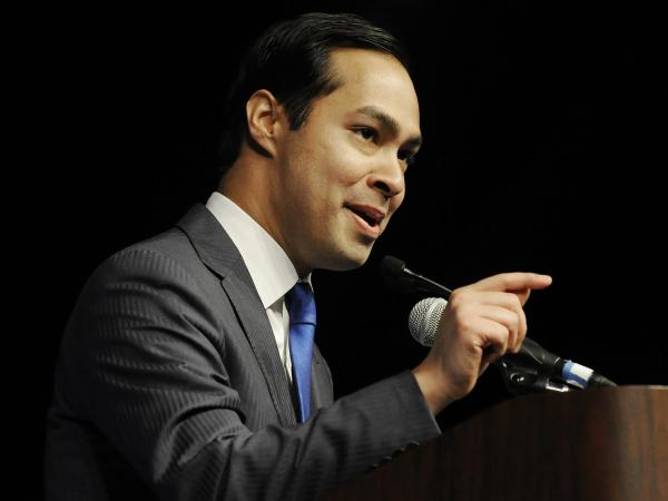 In what now looks like practice for the big show to come, San Antonio Mayor Julian Castro gives the keynote address at the Texas Democratic Convention in Houston on June 8.