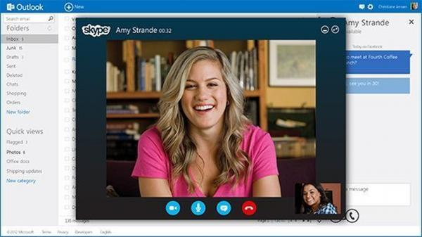 The new Outlook is incorporated with other services like Skype.