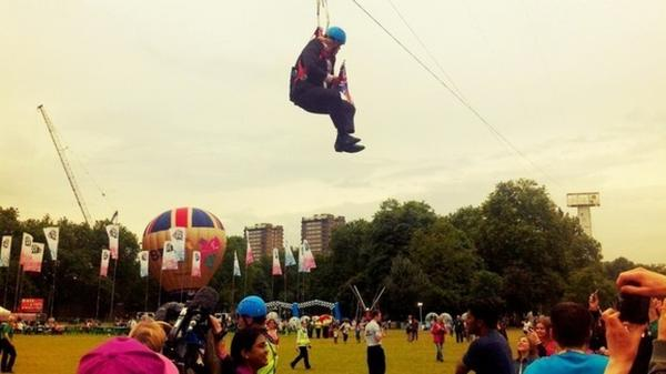 Boris Johnson awaits rescue from his zipline above Victoria Park.