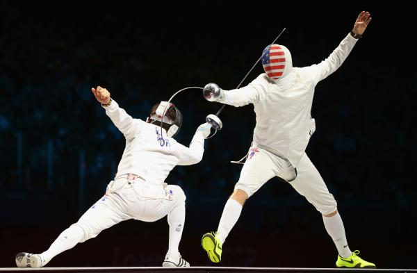 Ruben Limardo Gascon of Venezuela competes against Seth Kelsey of the United States in the Men's Epee Individual Fencing Semi Final. Kelsey finished fourth overall.