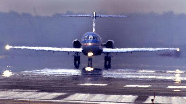 A passenger jet preparing for takeoff from Reagan National Airport in 2002.