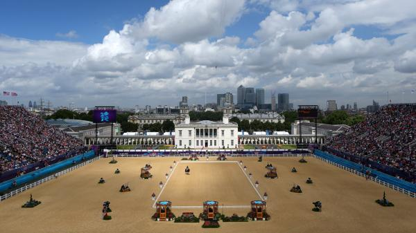 Jose Manuel Martin Dockx of Spain rides Grandioso in the Dressage Grand Prix on Day 6 of the London 2012 Olympic Games at Greenwich Park Thursday.