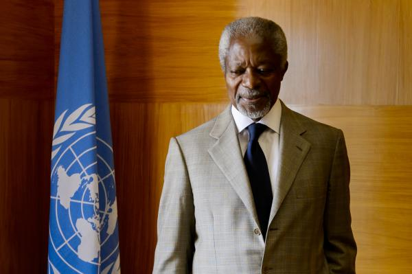 UN-Arab League envoy Kofi Annan looks on before a meeting at his office at the United Nations Offices in Geneva.