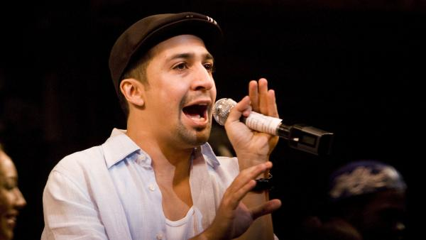 Lin-Manuel Miranda performs in his Tony-winning musical, <em>In the Heights, </em>in 2008 in New York City.