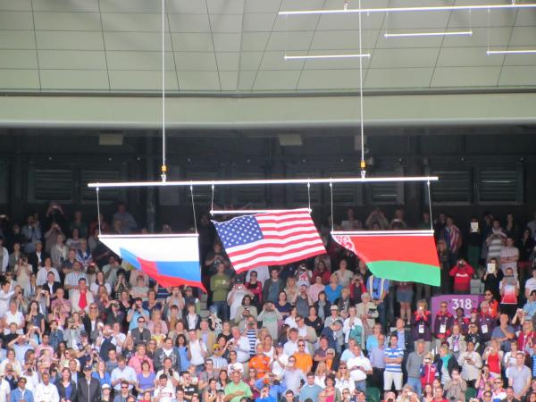 The U.S. flag fell from the display rod during Saturday's Olympic medal ceremony at Wimbledon, after Serena Williams' victory. The flag was collected in the stands and sent onto the court.