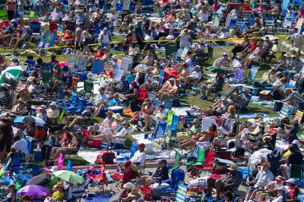 The crowd at the Fort Stage on Saturday of the 2012 Newport Jazz Festival.