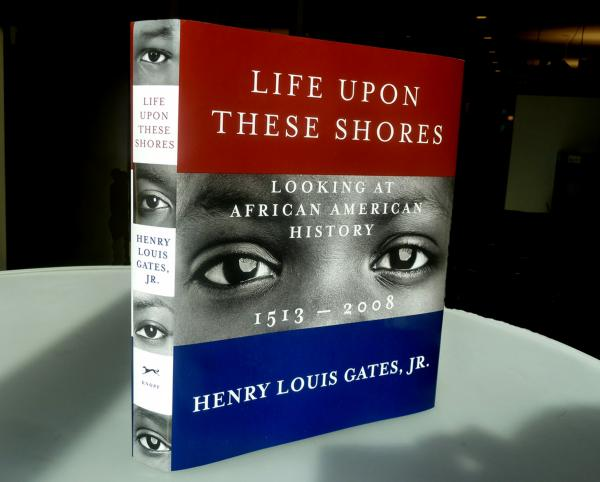 "<strong><em>Life Upon These Shores</em></strong><strong> by Henry Louis Gates, Jr.: </strong>""The author wanted an image 'out of time,' not specific to any one era, because the book spans centuries. I culled the conceptual emphasis from the word 'Looking' in the subtitle, and then augmented that with basic elements of the American flag."""