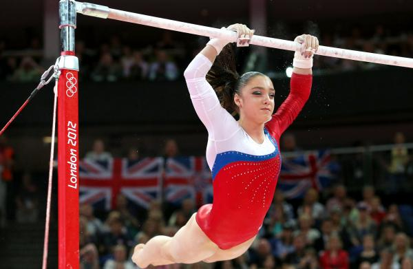 Aliya Mustafina of Russia won gold in the women's uneven bars final at the London 2012 Olympics Monday. American Gabby Douglas came in eighth.