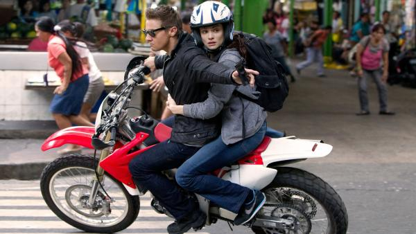 Aaron Cross (Jeremy Renner) and Marta Shearing (Rachel Weisz) in an action sequence from <em>The Bourne Legacy</em>. The franchise, now four installments in, marches on with a new lead character and actor. <em></em>