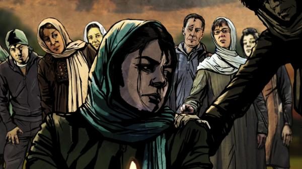 An Iranian woman mourns in <em>The Green Wave</em>, a documentary that mixes live action and animation to tell the story of the protests that erupted in the country during its 2009 elections.