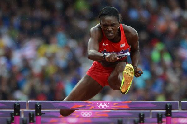 U.S. hurdler Dawn Harper competes in the women's 100m hurdles semifinals. Harper placed second in the finals.